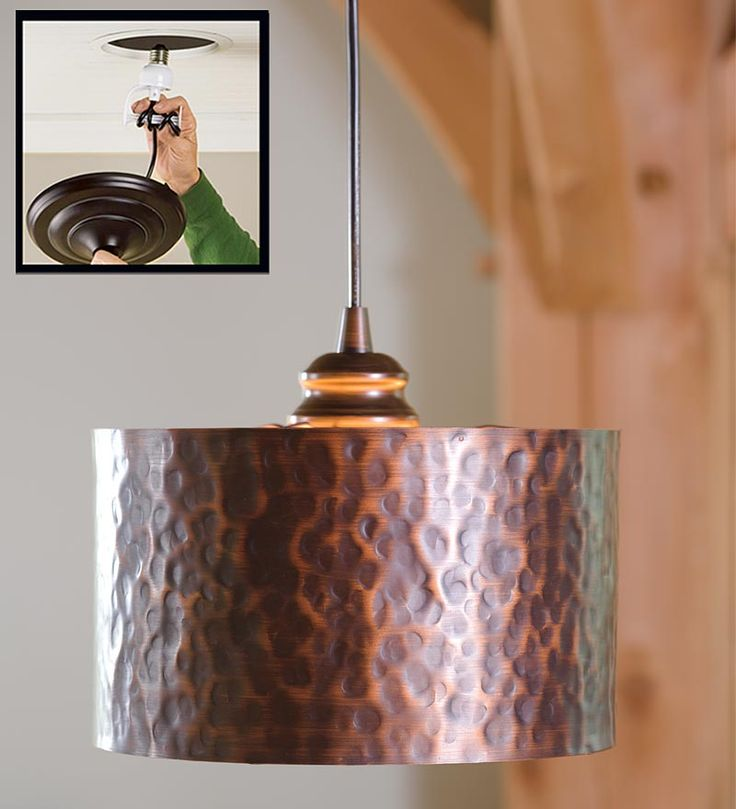 Hammered copper light plow and hearth great way to change from recess to hanging fixture