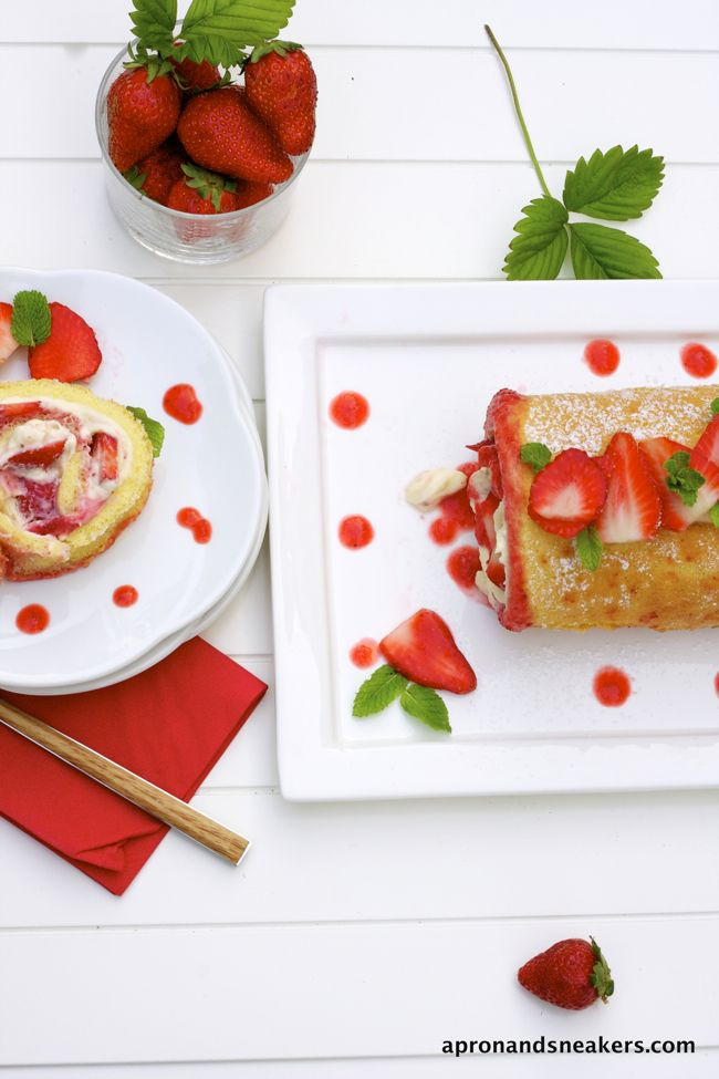 Strawberry mascarpone swiss roll
