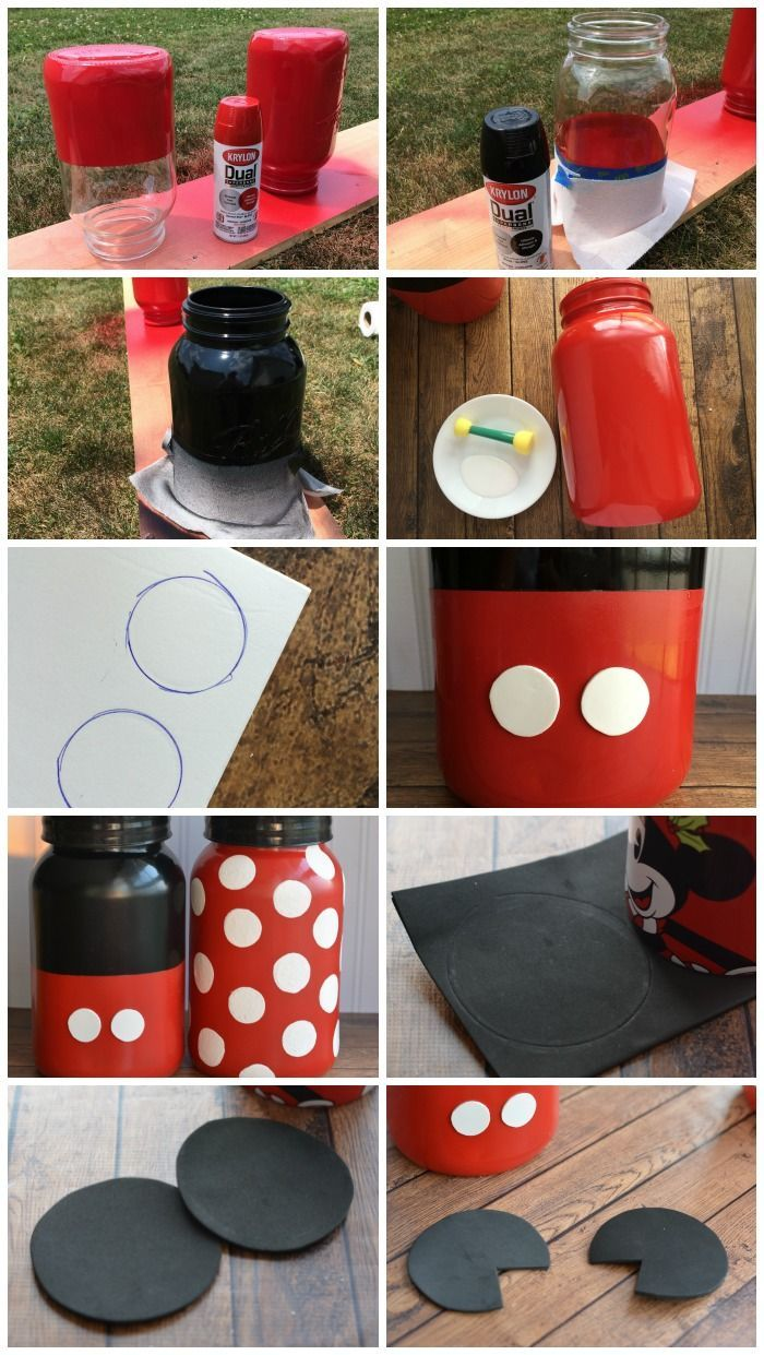 How to make Mickey and Minnie Mouse mason jars