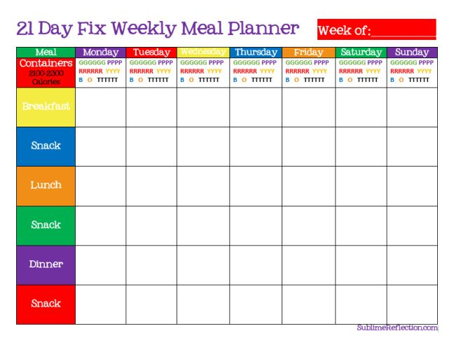 Simple tips for creating a 21 Day Fix Meal plan, including Weekly Meal Planner and Shopping List printables.