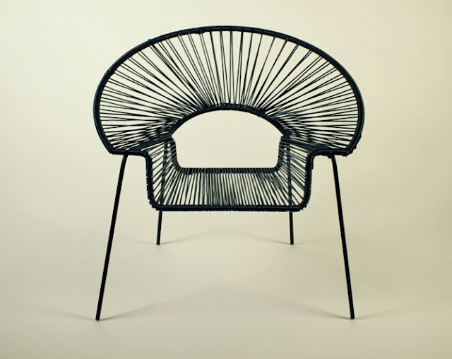 inspired patio chair which, with its clever use of flexible PVC threads that converge towards an open central space, creates such a beautiful and pleasing shape.   - http://chairsmith.blogspot.co.uk/2012/04/sideways-glance.html