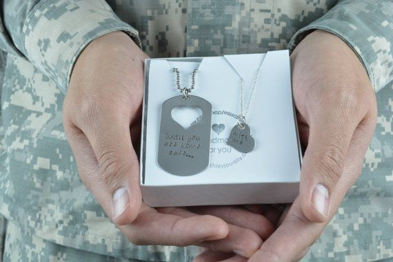 Until You Are Home Safe... With Me- Customize Your Own Dog Tag and Heart Necklace Set, Add your own special message! Hand Stamped Jewelry, Deployment Jewelry, Military Couple, Army, Army Couple, Army Wife Jewelry by MissAshleyJewelry $45