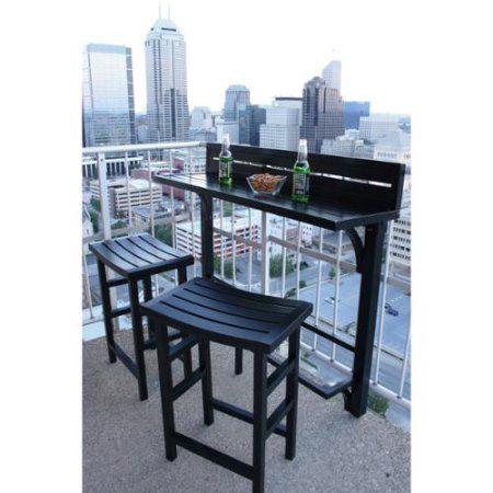 MIYU Furniture 3-piece Balcony Bar 3pc Balcony Bar Onyx (black) - Walmart.com