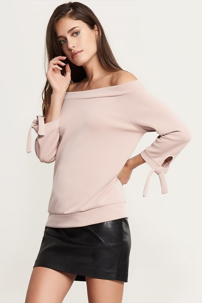 Soft Off-The-Shoulder Top With Ties