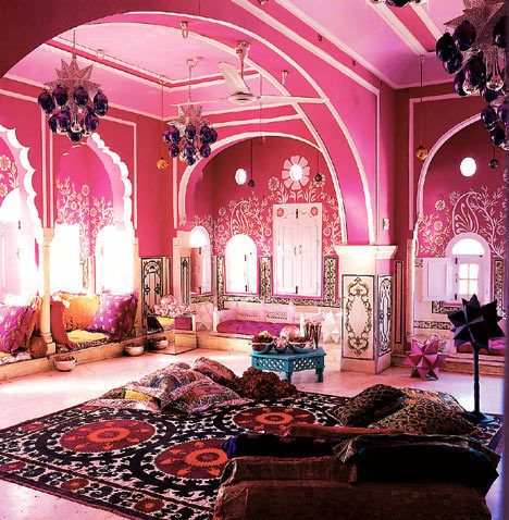pink boho moroccan inspired room home pink rooms pinterest orientalisch einrichtung. Black Bedroom Furniture Sets. Home Design Ideas