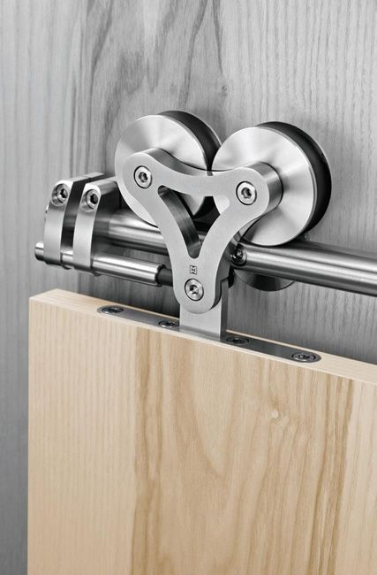 Duplex-S by Supra: Stainless steel sliding door hardware for when there is no pocket for the door.  #Hardware #Door - Would love to add a door to the hall for added quiet in bedrooms from livingroom.