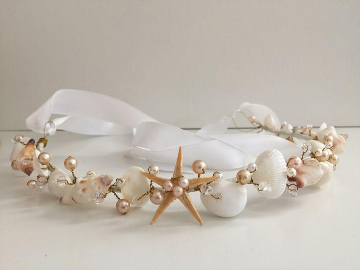 Beach Wedding Hair Crown, Sea Shell Hair Crown, Beach Wedding Tiara, Mermaid Crown by LCFloral on Etsy