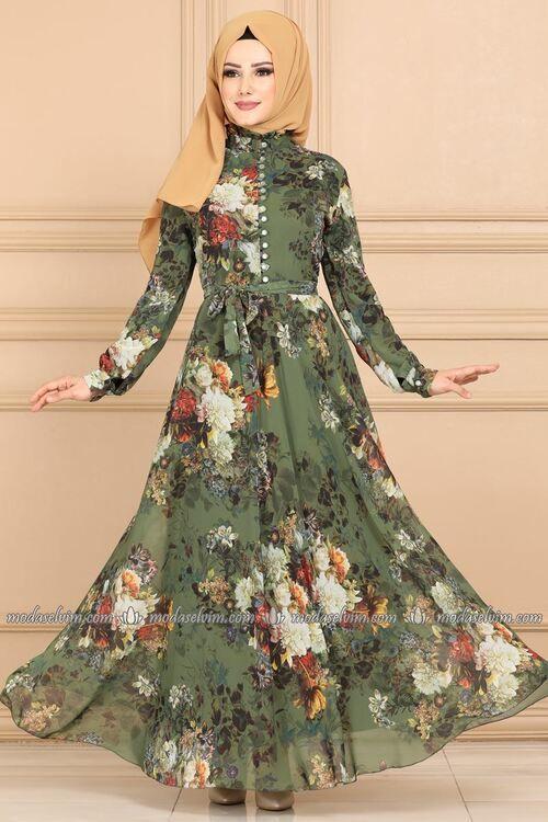 Modaselvim Elbise Desenli Sifon Elbise Ygs6211 Haki Sifon Elbise Elbise Islami Giyim