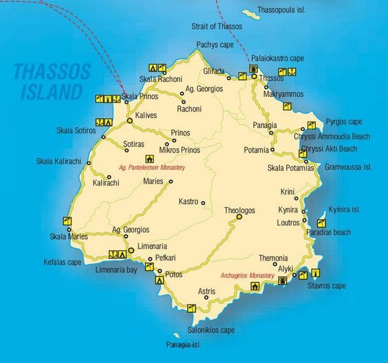 Thasos tourist map