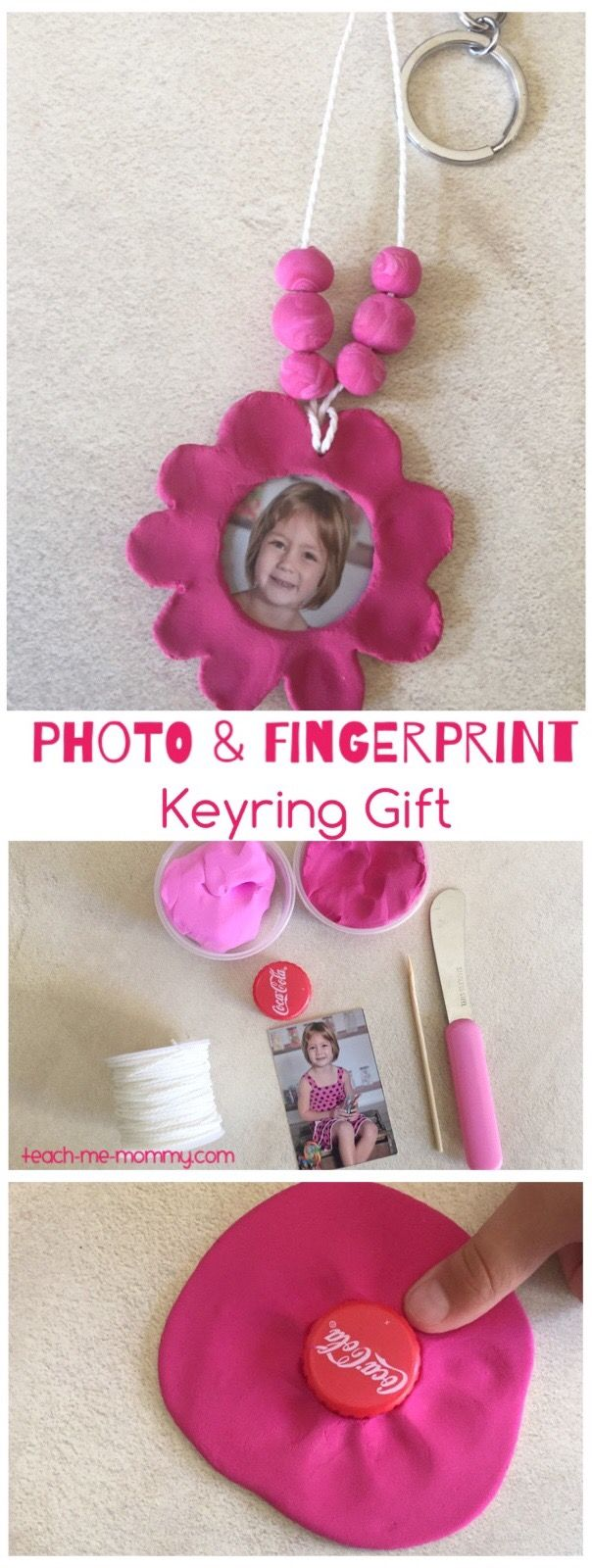 Photo & fingerprint keyring craft keepsake- perfect for Mother's Day
