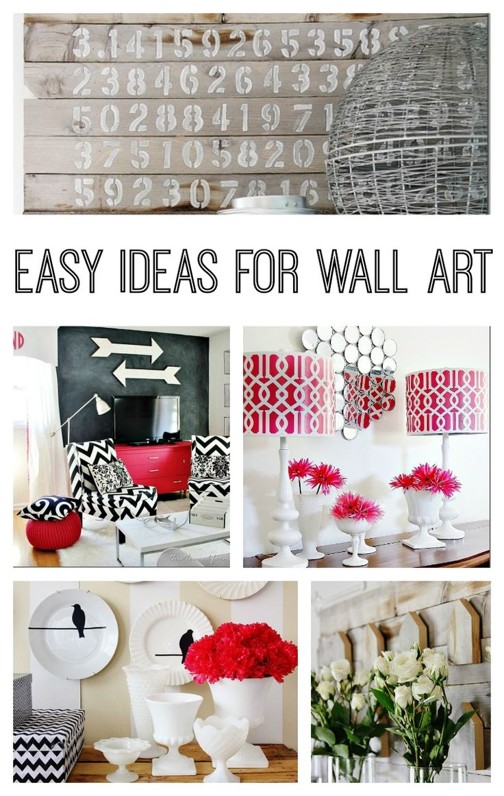 easy-ideas-for-wall-art.  Not crazy about reclaimed wood or really any of these specific ideas, but ideas spark ideas...