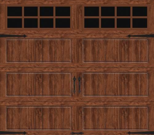 Ideal Door Designer 9 X 8 Oak Dark Insulated Garage Door With Windows R Value 6 5 In 2020 Garage Door Styles Garage Doors Garage Door Insulation