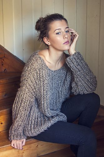 RIBBED KNIT ALPACA & SILK SWEATER ~