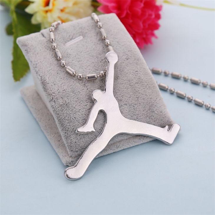Jordan collana di hip hop di pallacanestro di modo accessori ciondolo in argento a catena lunga gioielli per uomini e donne all'ingrosso