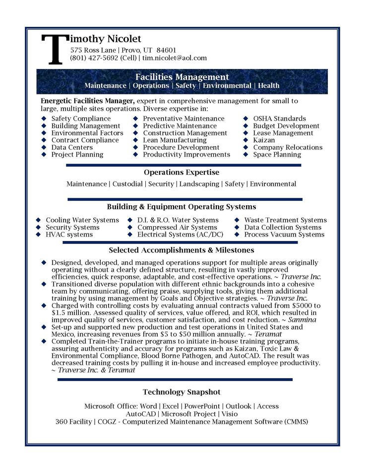 15 best resumes images on Pinterest Resume examples, Interview - sample maintenance resume