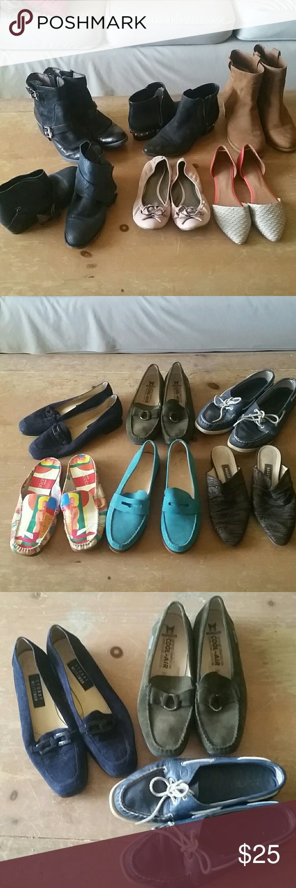 Designer Shoe Sale Sizes 8.5-9.5 $25/ for most I had lots of money and I bought lots and lots of shoes and boots. Flats from Bally, Jeffrey Campbell, Frye, and Cole-Haan. Most are size 9 but a few are beat up and would fit a 10. Others are 8.5 or narrow. ALL PAIRS $25 OR LESS. Boots are from Eileen Fisher, Donald J. Pliner, Geox and Circus from Sam Edelman. Message me for questions on particular pairs. Cole Haan Shoes Ankle Boots & Booties