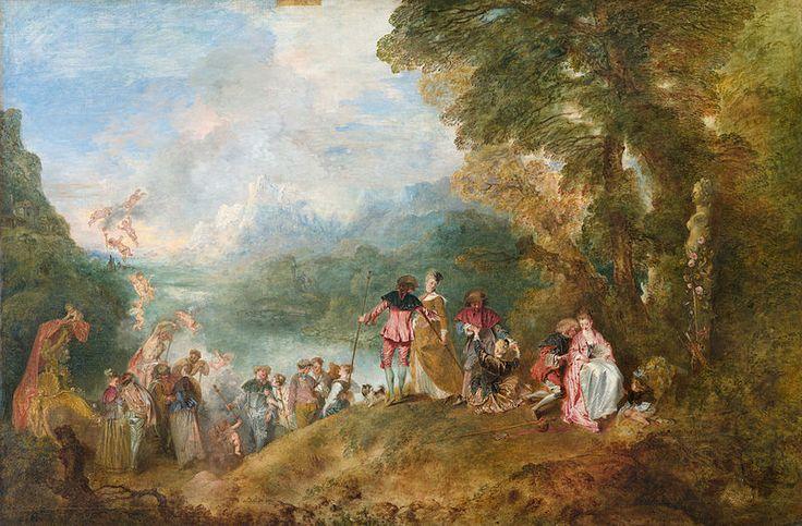 """""""Pilgrimage to Cythera"""" or """"The Embarkation for Cythera"""" (Antoine Watteau, 1717, oil on canvas). In the Musée du Louvre (Département des Peintures ; Pavillon Sully, 2e étage, Salle 36, Peintures françaises XVIIIeme siècle)."""
