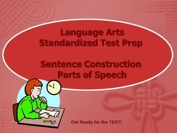 Sentence Construction PowerPoint for Test Prep. Parts of speech and subject and predicates practice questions. Help students practice sentence construction $