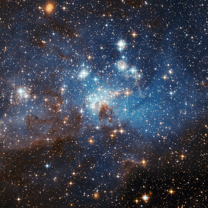 The latest photo from the Hubble Space Telescope, presented at the 2006 General Assembly of the International Astronomical Union in Prague this week, shows a star forming region in the Large Magellanic Cloud (LMC). This sharp image reveals a large number of low-mass infant stars coexisting with young massive stars.