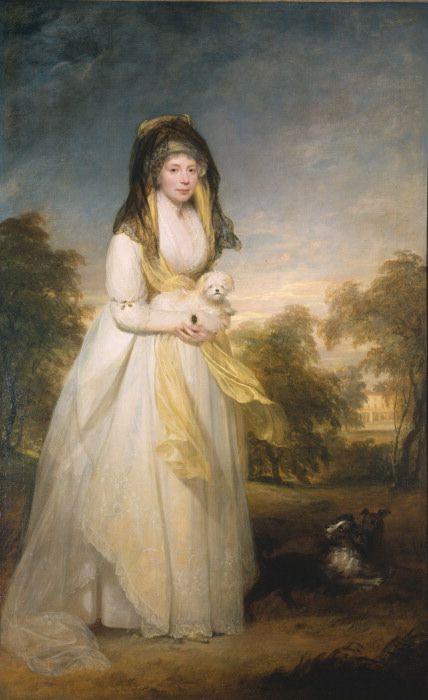 Portrait of Queen Charlotte holding a Maltese dog by Sir William Beechey