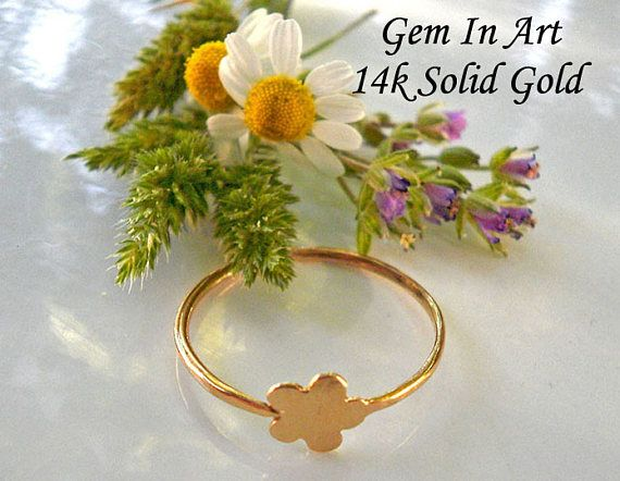 14K Solid Gold Ring 14K Solid Gold Stacking Ring Gold Flower