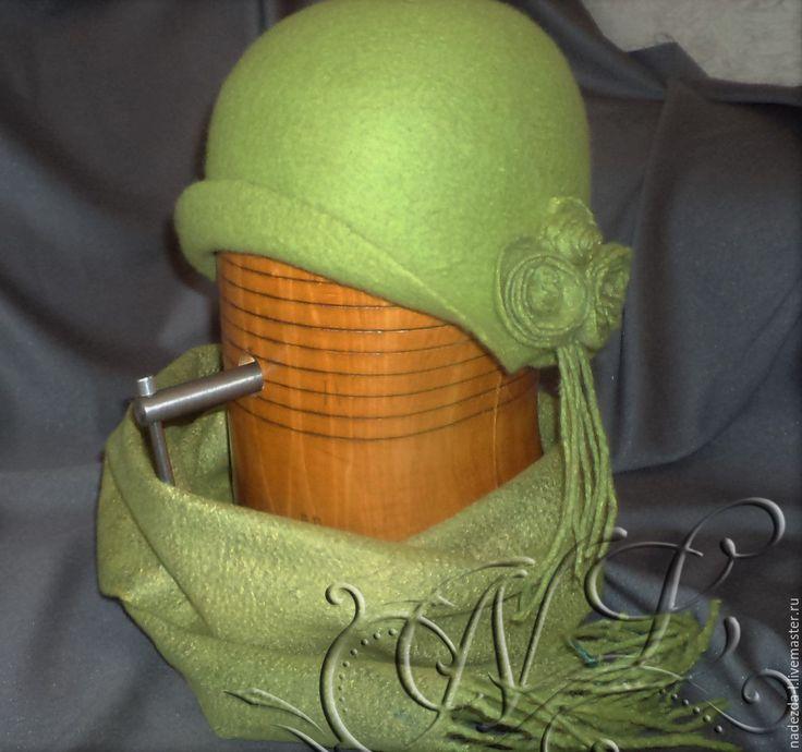 """Купить Валяная шляпа """" Любимая зелень-2...!!"""" - салатовый, однотонный, шляпа"""