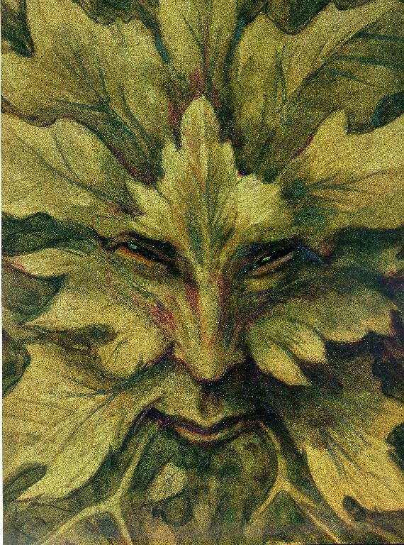 The Green Man, also known as Jack of the Green or the Oak King  -  The blending of human face and foliage the Green Man is a traditional form that represents irrepressible life, with the forces of nature merging with humanity. The Green Man can be found on many gothic churches and castles throughout the world.