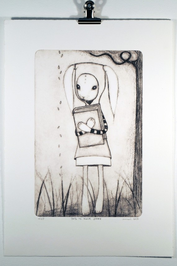 Drypoint etching on cotton paper by Minu. $72 on Etsy.