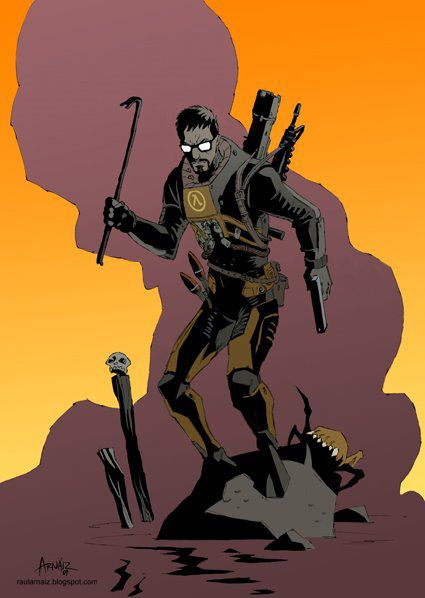 Ilustration-fan art: 'Gordon Freeman' (Half Life) by ~RaulArnaiz on deviantART