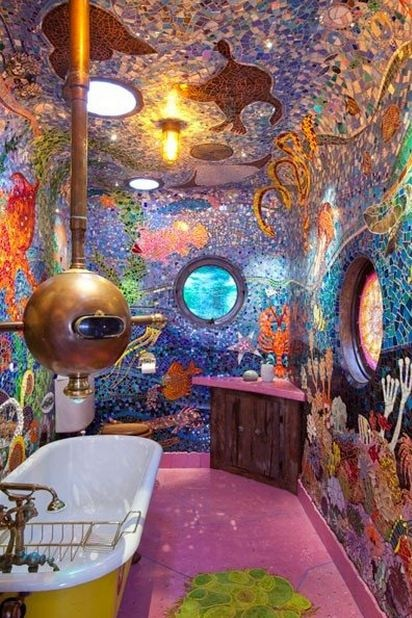 Underwater theme bathroom mosaic. Crazy cool!