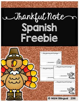 FREE Thankful note perfect for Thanksgiving! IN SPANISH! Enjoy!~~If you enjoy this FREEBIE, please leave a positive note below~~Need SPANISH High Frequency Word Work? Check out my NEW sets: ~~Check out each set by clicking each one below~~Set #1Set #2Set #3Set #4Need an Interactive Grammar Notebook in {SPANISH}?Check it out HERENeed Choice Boards for Guided Reading Centers in Spanish?Check these out HERE ENJOY!!!