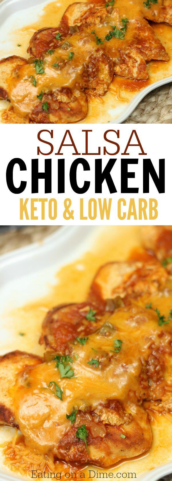 This Easy Salsa Chicken Skillet Recipe is the best low carb recipe! The salsa and cheese make such a yummy Skillet Chicken Recipe for your keto diet. Salsa Chicken Keto Recipe is so easy!