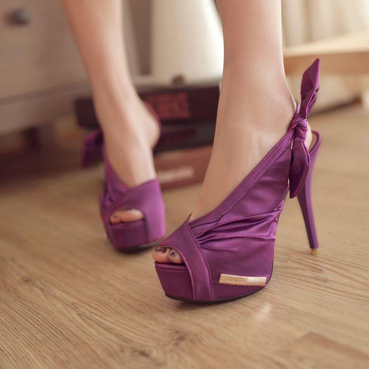 2014, Лето, Новый Элегантный Фиолетовый Свадебные туфли На Платформе peep toe атлас сексуальные тонкий каблук вечернее платье высокие каблуки партии обувь