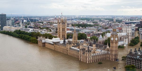 What Certain Cities Could Look Like as a Result of Climate Change - this is London, after 4 degrees C of warming