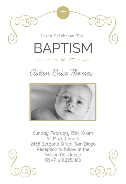 cross and scrolling baptism christening invitation baptism