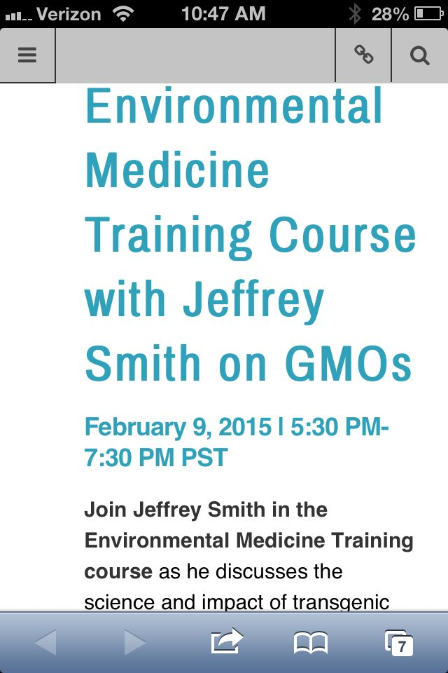 Environmental Medicine Training Course with Jeffrey Smith on GMOs  By admin in Events  January 30, 2015	  0 Comment Share with your family and friends  Environmental Medicine Training Course with Jeffrey Smith on GMOs February 9, 2015 | 5:30 PM- 7:30 PM PST Join Jeffrey Smith in the Environmental Medicine Training course as he discusses the science and impact of transgenic foods and their relationship to disease. Mr. Smith will also use case studies and interviews with physicians who present…