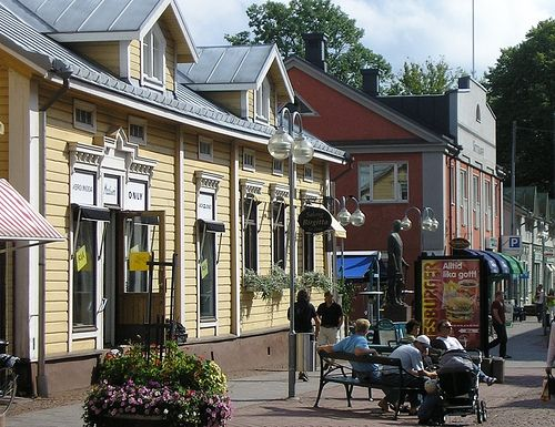 Wooden houses in Torggatan in the centre of Mariehamn, Åland, Finland