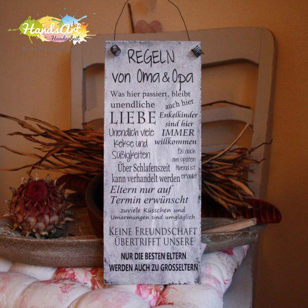 """HandsArt Handarbeit                  Shabby Schild     + Drahtaufhängung     """"Regeln von Oma & Opa"""" ..."""