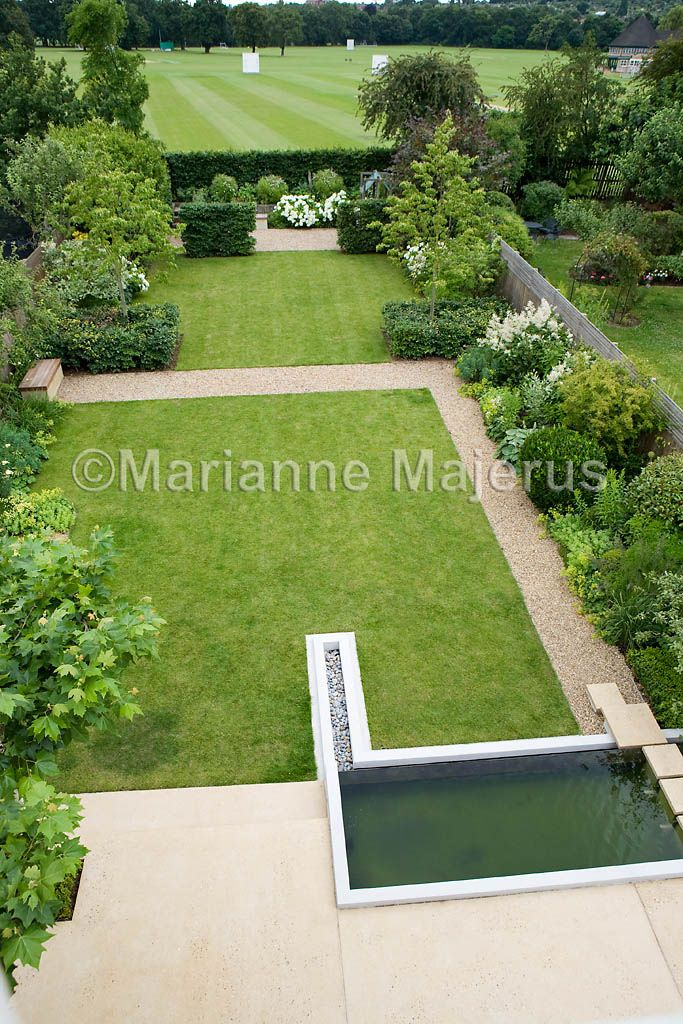 large family garden with a large lawn area