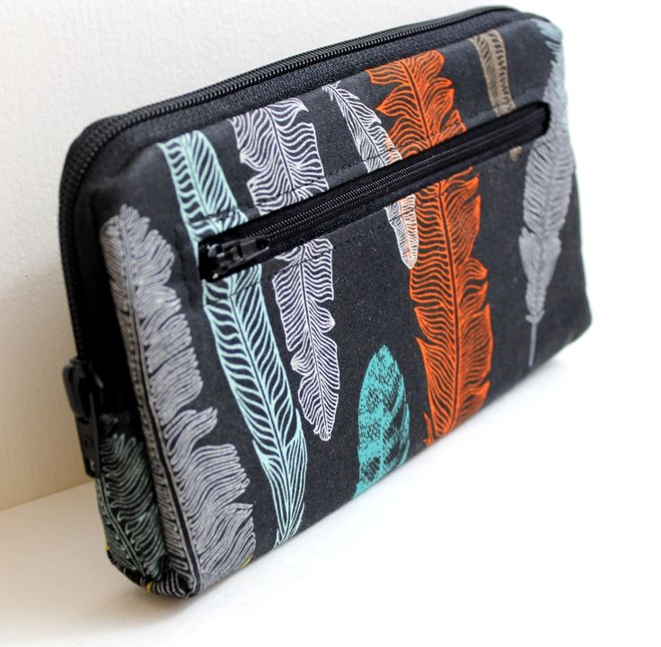 feathers zip around wallet