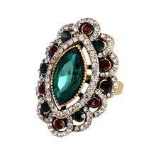 2016 Luxe Mode Grote Groene Steen Ringen Voor Vrouwen Charm Plating Antiek Goud Tibet Lichtmetalen Turkije Eye Crystal…