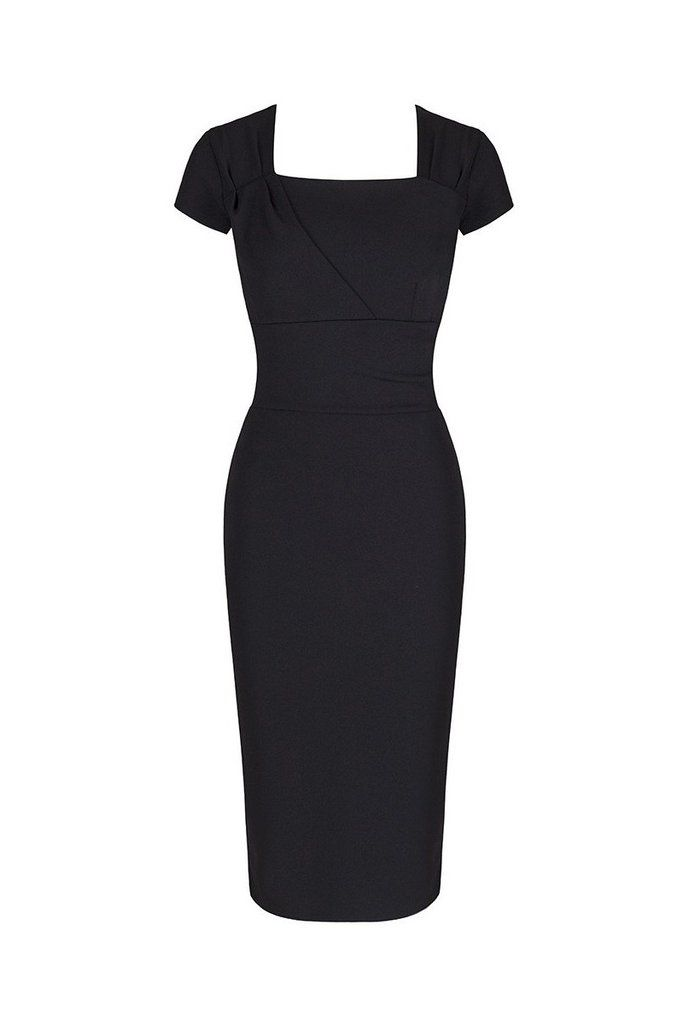 Black Capped Sleeve Ruched Wiggle Dress