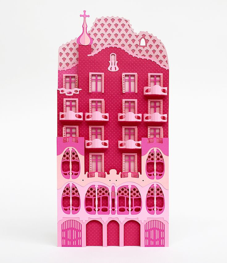 zim & zou crafts barcelona's architectural landmarks from pink paper