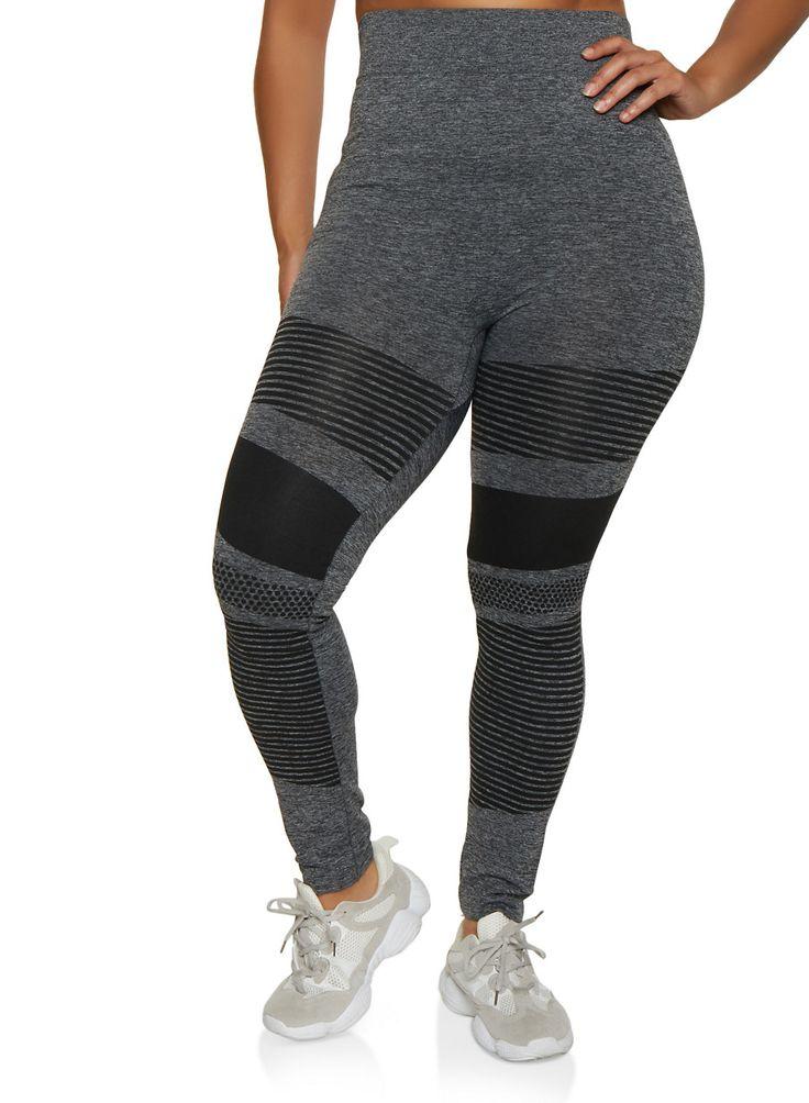 Plus Size Variegated Stripe Detail Leggings – Grey – Size 3X