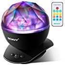 [Upgraded Version] SOAIY Soothing Aurora LED Night Light Projector with Timer, Remote, Music Speaker, 8 Lighting Modes, Relaxing Light Show, Mood Lamp for Baby Kids and Adults, Living Room and Bedroom
