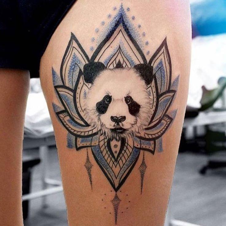 Cute panda tattoo by @yershova_anna