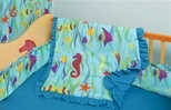 100% Cotton Made in USA - Crib / Toddler Bedding Set - Ocean- Theme - Sea, Seaweed, Fish, Seahorses, Starfish on Blue Background