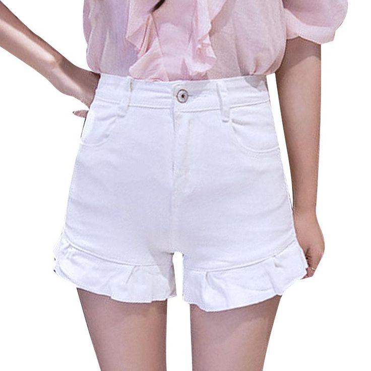 Flounce Denim Shorts Slim Skinny High Waist Stretch Shorts All-match Jeans White Shorts Femme Plus Size