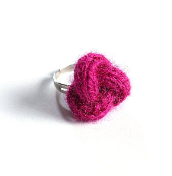 Knitted yarn ring fiber ring knit jewelry yarn by bymarkova, $11.90