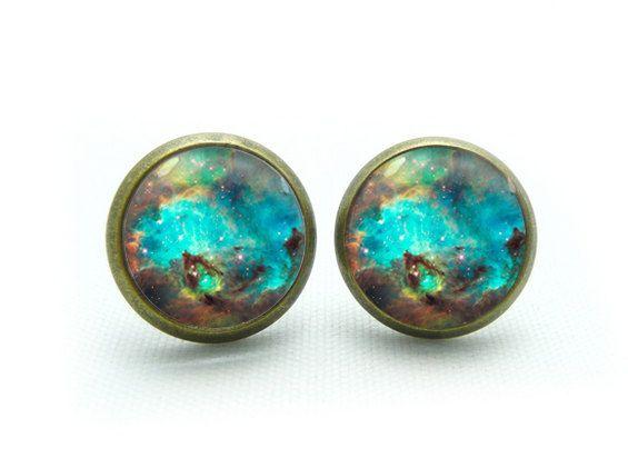 galaxy earrings nebula stud earrings space by eleanoretobey